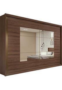 Guarda Roupa Casal C/ Espelho 2 Portas De Correr 6 Gavetas Toronto Plus Imbuia Naturale/Off White/Imbuia Naturale Lopas - Tricae