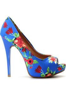 c20566b44 ... Peep Toe Royalz Tecido Floral Salto Alto Fino Cravo Feminino -  Feminino-Azul