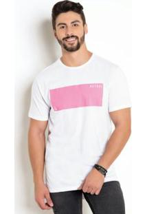 Camiseta Long Line Com Estampa Neon