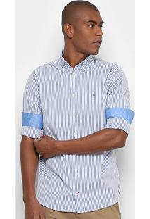 Camisa Tommy Hilfiger Regular Fit Listras Masculina - Masculino