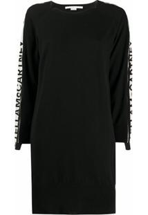 Stella Mccartney Vestido Listrado De Tricô Com Logo - Preto