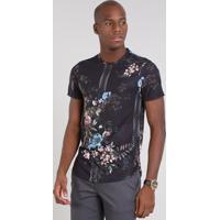 a603d473e0 Camiseta Masculina Slim Fit Estampada Floral Manga Curta Gola Careca Preta