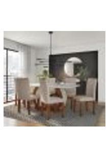 Conjunto De Mesa De Jantar Com 6 Cadeiras Estofadas Jéssica I Veludo Off White E Creme
