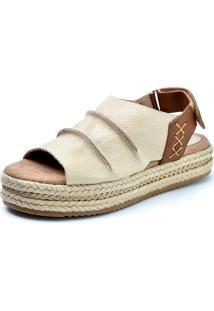 Sandália Flatform Scarpan Calçados Finos Em Couro Bege