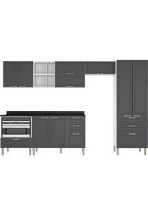 Cozinha Modulada 10 Peças Com Tampo E Nichos Nevada 5958Mf-Multimóveis - Branco Premium / Grafite Premium / Branco Premium