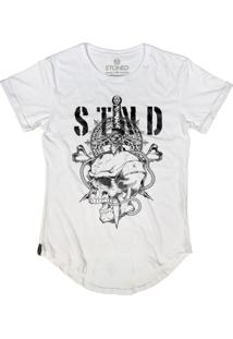 Camiseta Stoned Longline Sword Skull Branco