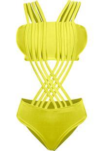 Body Outletdri Suplex Maiô Top Faixa Alcinha Tiras Multi Trançado Em X Amarelo