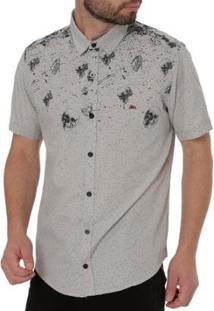 Camisa Mx 72 Manga Curta Masculina - Masculino-Cinza