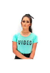 Camiseta Miss Glamour Store Vibes Positive Ciano