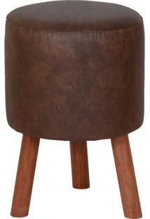 Puff Round Leather Pés De Madeira Caramelo
