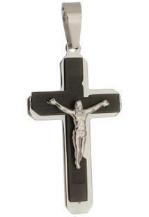 Pingente Crucifixo De Aço Inox Tudo Joias Pai Nosso De Aço Inox Black - Unissex-Preto
