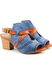 Sandália Salto Em Couro Feminina F1608 Azul/Whisky Burn 33
