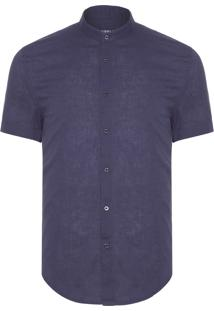 Camisa Masculina Collarless - Azul Marinho