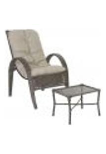 Jogo Cadeira 1Un E Mesa P/ Jardim Edicula Varanda Descanso Trama Napoli Plus Pedra Ferro A11