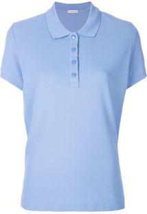 e909ef1803 Farfetch. Polo Feminina Algodão Slim Curta Moncler Azul U2 Camisa -