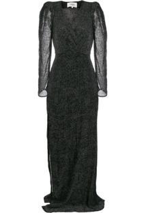 Ba&Sh Vestido Longo Charlie De Veludo Com Devorê - Preto