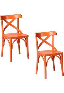 Kit 2 Cadeiras Decorativas Crift Laranja - Gran Belo