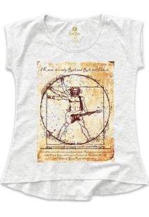 Camiseta Tshirt Rock Cool Tees Guitarra Da Vinci Feminina - Feminino-Mescla Claro