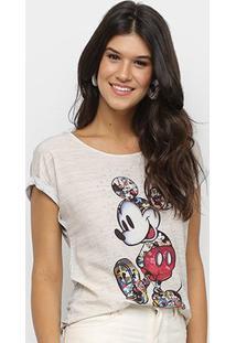 Blusa Disney Vintage Mickey Flamê Hotfix Feminina - Feminino-Mescla Claro