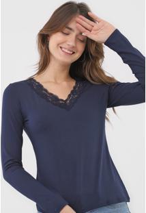 Blusa Malwee Renda Azul-Marinho