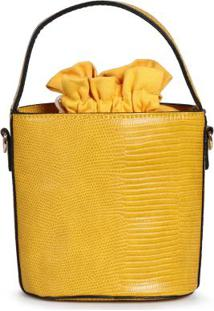 Bolsa De Mão Lara Bucket Animal Amarelo