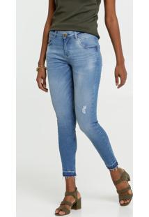Calça Jeans Cigarrete Puídos Feminina Marisa
