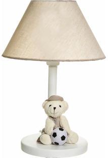 Abajur Madeira Urso Com Bola Bebê Infantil Menino Potinho De Mel Bege