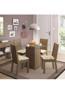 Conjunto De Mesa Com 4 Cadeiras Lucy Rustic E Lírio Bege