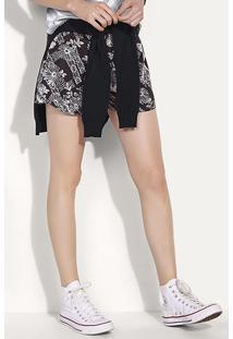Shorts Feminino Em Tecido De Viscose Com Estampa