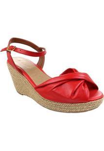 Sandália Kult Anabela Solf Leather Feminina - Feminino-Vermelho