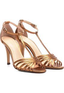 Sandália Couro Shoestock Salto Fino Tiras Feminina - Feminino-Bronze