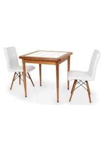Conjunto Mesa De Jantar Em Madeira Imbuia Com Azulejo + 2 Cadeiras Gomos - Branco