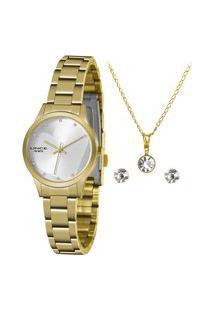 Kit De Relógio Analógico Lince Feminino + Brinco + Colar -Lrgh143L Ky33S1Kx Dourado