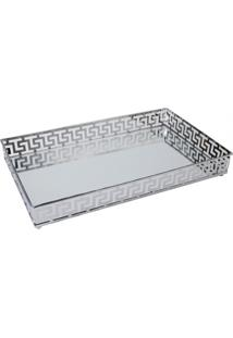 Bandeja Decorativa De Ferro Espelhado Prata - Prata - Dafiti