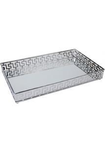 Bandeja Decorativa De Ferro Espelhado Prata