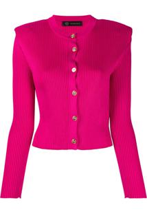 Versace Cardigan Cropped Canelado - Rosa