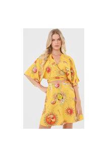 Vestido Colcci Curto Amarração Amarelo