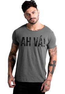 Camiseta Estonada Corte À Fio Estampada Joss Ah Vá Chumbo