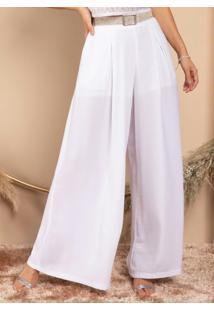 Calça Pantalona Branca Com Bolsos Funcionais