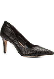 76459eb81 ... Scarpin Couro Shoestock Salto Alto Cobra - Feminino-Preto
