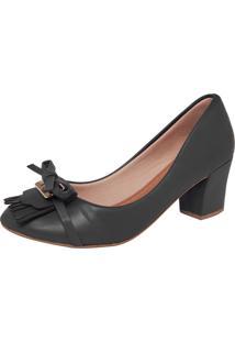 Scarpin Dafiti Shoes Laço Franjas Preto