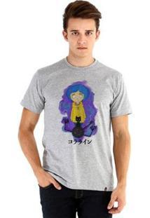 Camiseta Ouroboros Manga Curta Coraline - Masculino-Cinza
