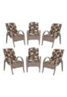 Cadeiras 6Un P/ Jardim Lazer Edicula Varanda Descanso Fibra E Tramas Napoli Plus Argila A02