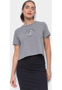 Camiseta Colcci Cropped Disney Mickey Feminina - Feminino-Grafite
