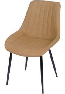 Cadeira Lounge Courino Caramelo Com Costura Vertical - 50011 - Sun House