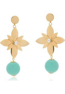 Brinco Le Diamond Flor E Cristal Dourado - Kanui