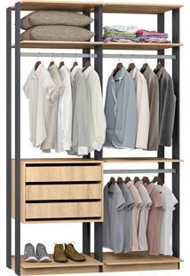 Closet 3 Gavetas 3 Cabideiros 9013 Carvalho/Espresso - Bentec
