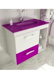 Gabinete Para Banheiro 80 Cm Com 2 Peças Vetro 12 Branco E Violeta Tomdo