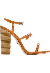 Schutz Sandália Salto Thin Stripes Honey - Laranja