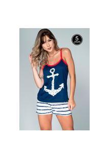 Kit 5 Pijama Feminino Serra E Mar Modas Baby Doll Âncora Azul Marinho